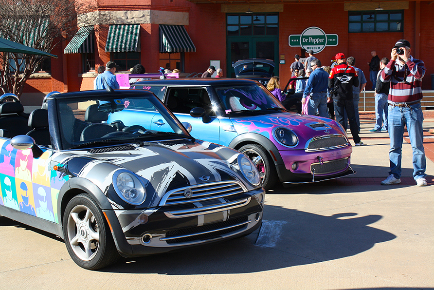 MINIs on display, including the world-famous 'Blaze!'